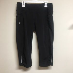 Black Reflective Runched Athleta Workout Capris